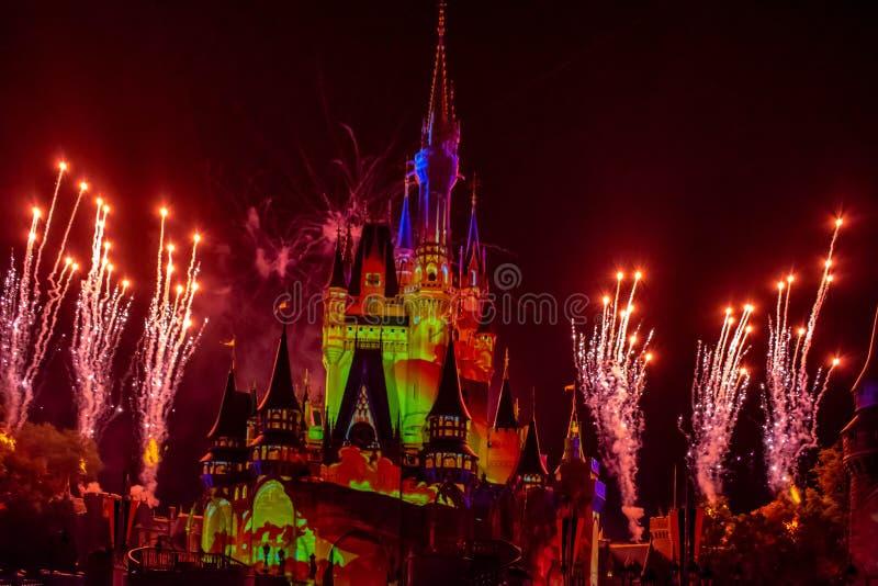 愉快地从此以后是壮观的烟花显示在黑暗的夜背景的灰姑娘的城堡在不可思议的王国35 免版税库存图片