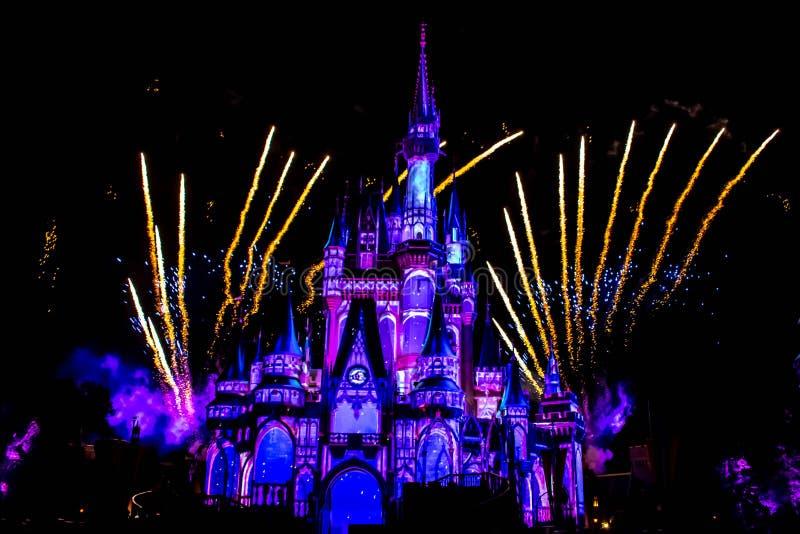 愉快地从此以后是壮观的烟花显示在黑暗的夜背景的灰姑娘的城堡在不可思议的王国28 免版税库存图片