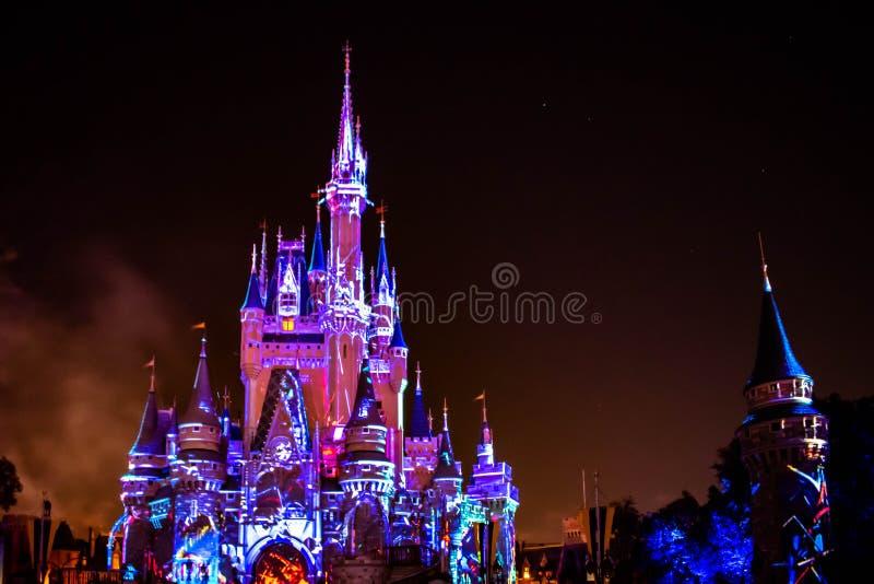 愉快地从此以后是壮观的烟花显示在黑暗的夜背景的灰姑娘的城堡在不可思议的王国38 库存图片