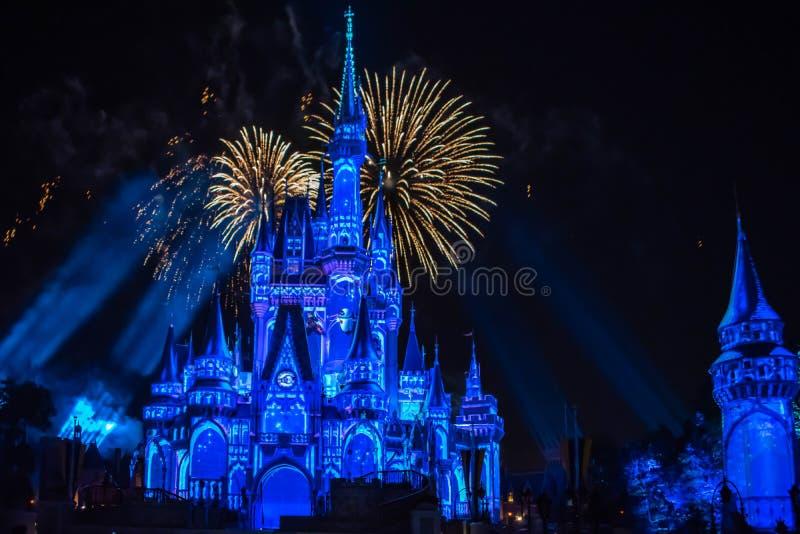 愉快地从此以后是壮观的烟花显示在黑暗的夜背景的灰姑娘的城堡在不可思议的王国29 库存图片