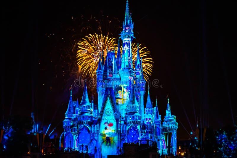 愉快地从此以后是壮观的烟花显示在黑暗的夜背景的灰姑娘的城堡在不可思议的王国41 库存图片