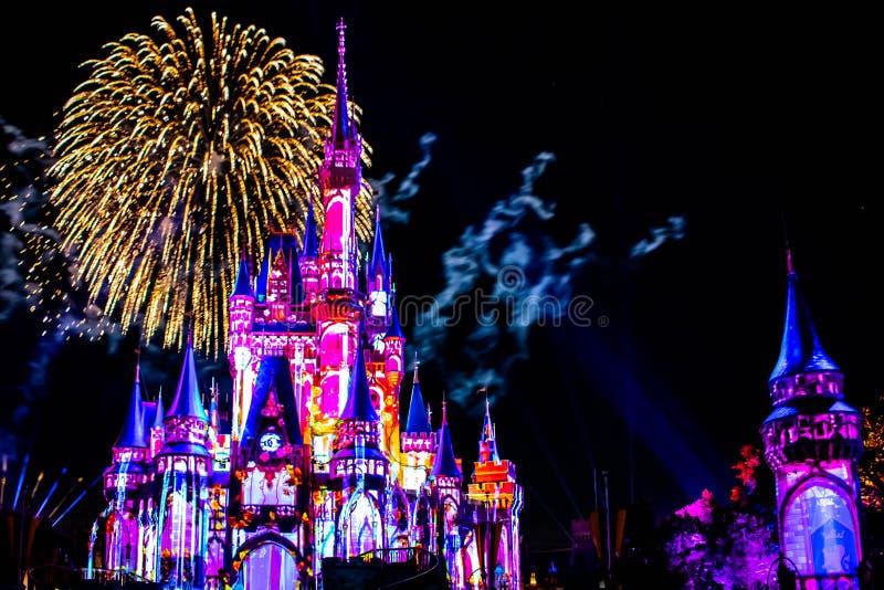 愉快地从此以后是壮观的烟花显示在黑暗的夜背景的灰姑娘的城堡在不可思议的王国32 库存图片