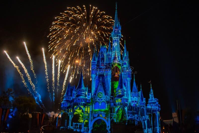 愉快地从此以后是壮观的烟花显示在黑暗的夜背景的灰姑娘的城堡在不可思议的王国18 图库摄影