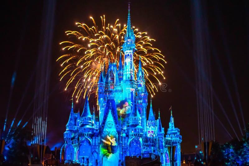 愉快地从此以后是壮观的烟花显示在黑暗的夜背景的灰姑娘的城堡在不可思议的王国40 免版税库存图片