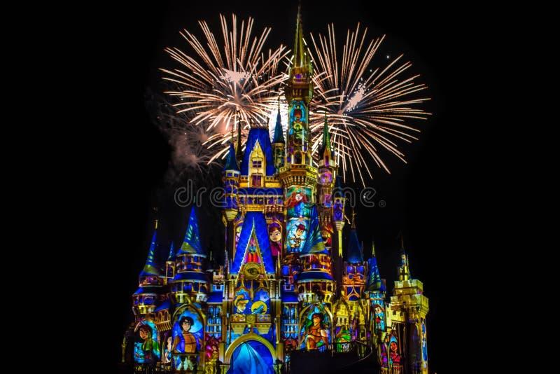 愉快地从此以后是壮观的烟花显示在黑暗的夜背景的灰姑娘的城堡在不可思议的王国49 图库摄影