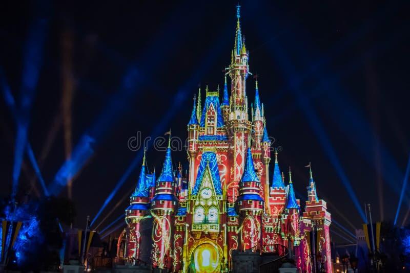 愉快地从此以后是壮观的烟花显示在黑暗的夜背景的灰姑娘的城堡在不可思议的王国8 免版税图库摄影
