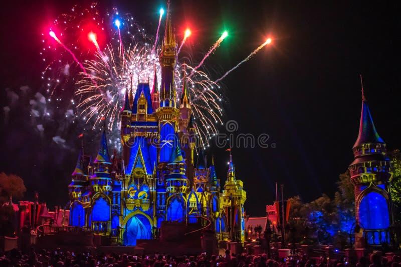 愉快地从此以后是壮观的烟花显示在黑暗的夜背景的灰姑娘的城堡在不可思议的王国47 免版税库存照片