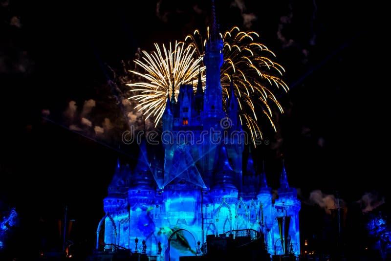 愉快地从此以后是壮观的烟花显示在黑暗的夜背景的灰姑娘的城堡在不可思议的王国24 库存照片