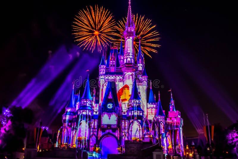 愉快地从此以后是壮观的烟花显示在黑暗的夜背景的灰姑娘的城堡在不可思议的王国30 免版税图库摄影