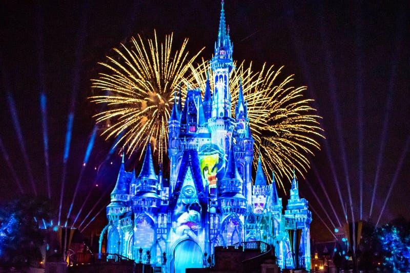愉快地从此以后是壮观的烟花显示在黑暗的夜背景的灰姑娘的城堡在不可思议的王国43 免版税库存图片
