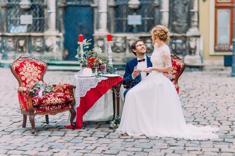 愉快地微笑迷人的新娘坐膝盖她新郎和 免版税库存图片