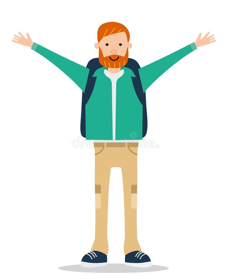 愉快地摇他的手的夹克的红胡子的年轻人 库存例证