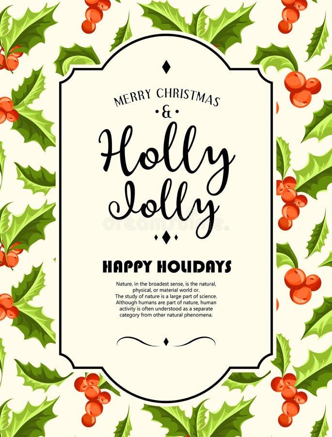 愉快地霍莉-圣诞节背景 艺术轻的向量世界 向量例证