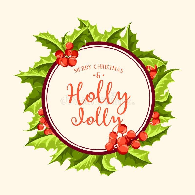 愉快地霍莉-圣诞节背景 艺术轻的向量世界 皇族释放例证