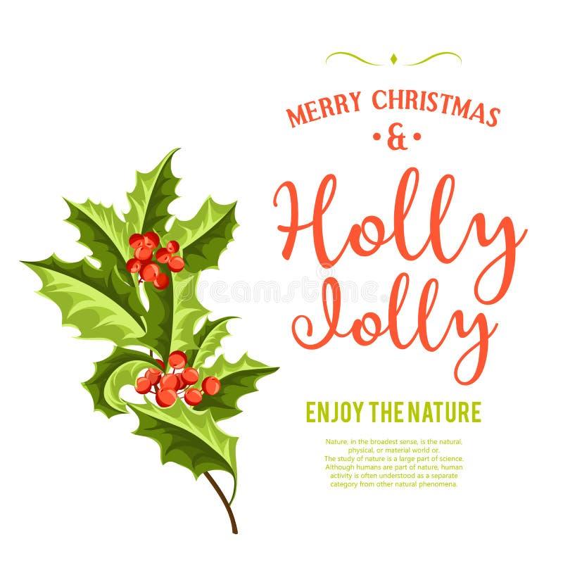 愉快地霍莉-圣诞节背景 艺术轻的向量世界 库存例证