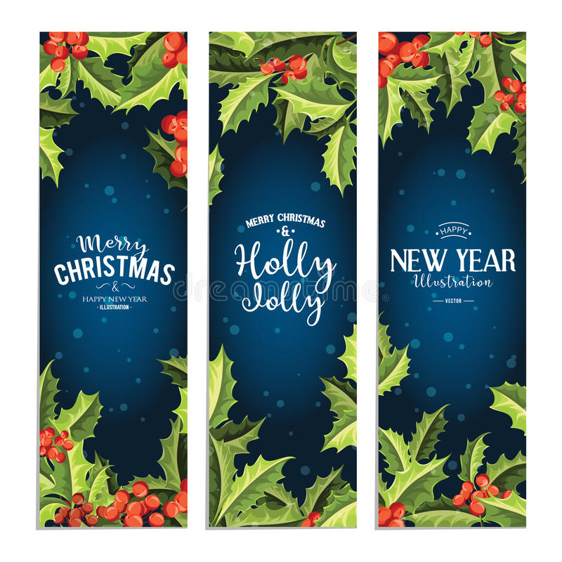 愉快地霍莉-被设置的圣诞节横幅 艺术轻的向量世界 皇族释放例证