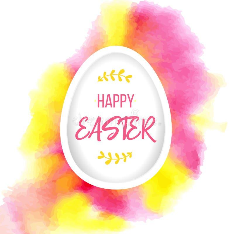 愉快复活节的问候 与字法的纸鸡蛋在五颜六色的水彩背景 纸艺术元素假日问候 皇族释放例证