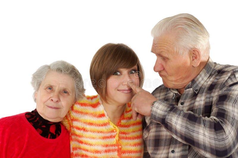 愉快孙女的祖父项 库存图片