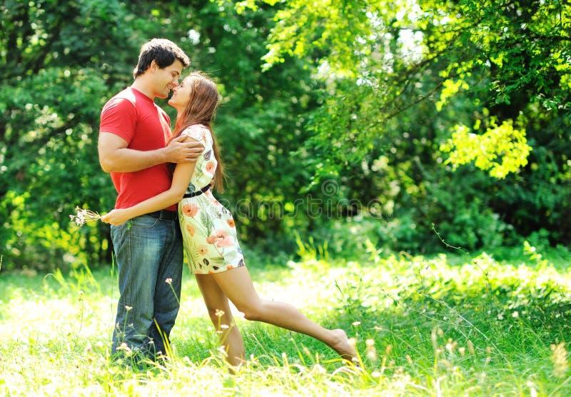 愉快年轻夫妇亲吻室外在公园 库存照片