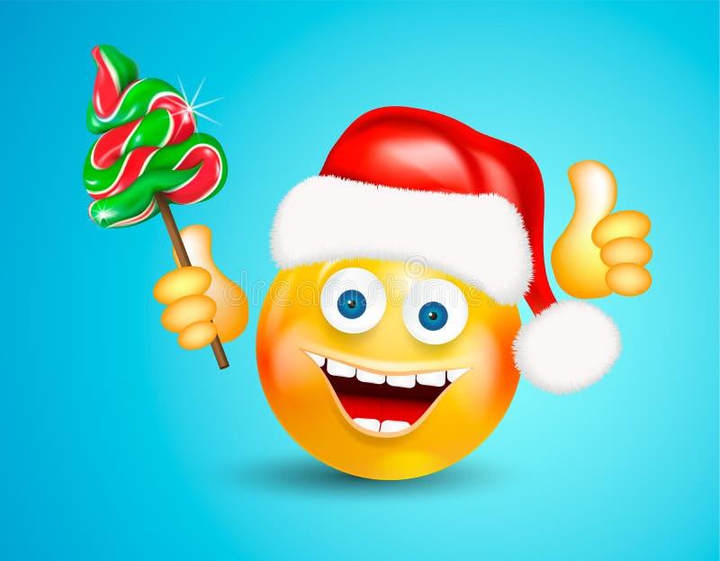愉快微笑围绕戴一个红色圣诞老人帽子的面孔拿着圣诞节糖果冷杉木和显示在明亮的蓝色后面的赞许 向量例证