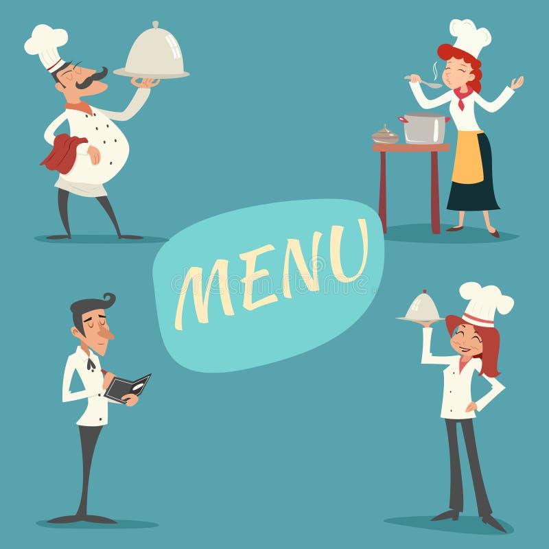 愉快微笑男性和女性首席厨师侍者 向量例证