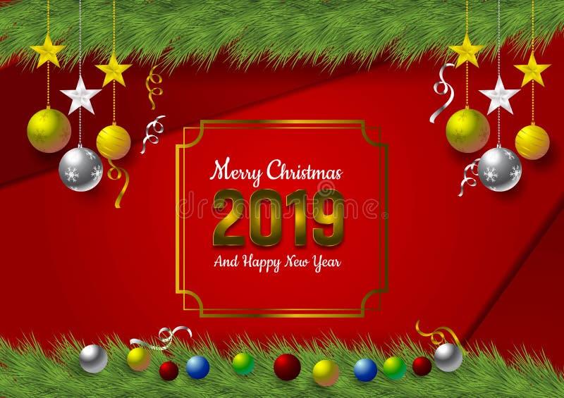 愉快新2019年有红色背景和雪花和球圣诞节节日的,传染媒介例证 向量例证