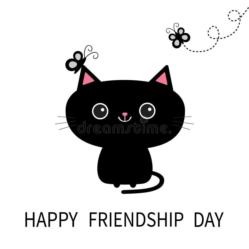 愉快日的友谊 恶意嘘声剪影和蝴蝶昆虫 库存例证
