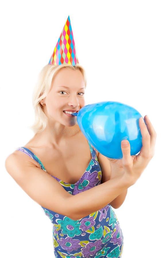 愉快气球蓝色的女孩 免版税库存照片