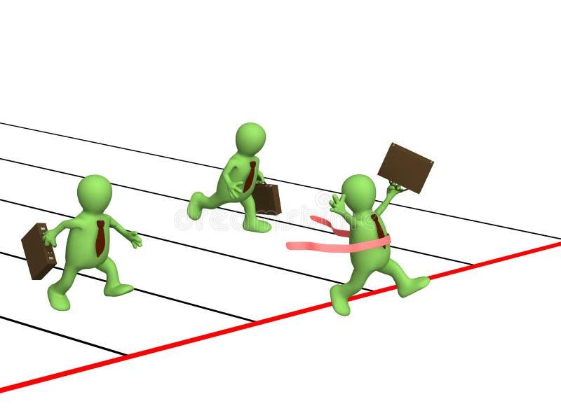 愉快生意人的竞争有谁被赢取 向量例证