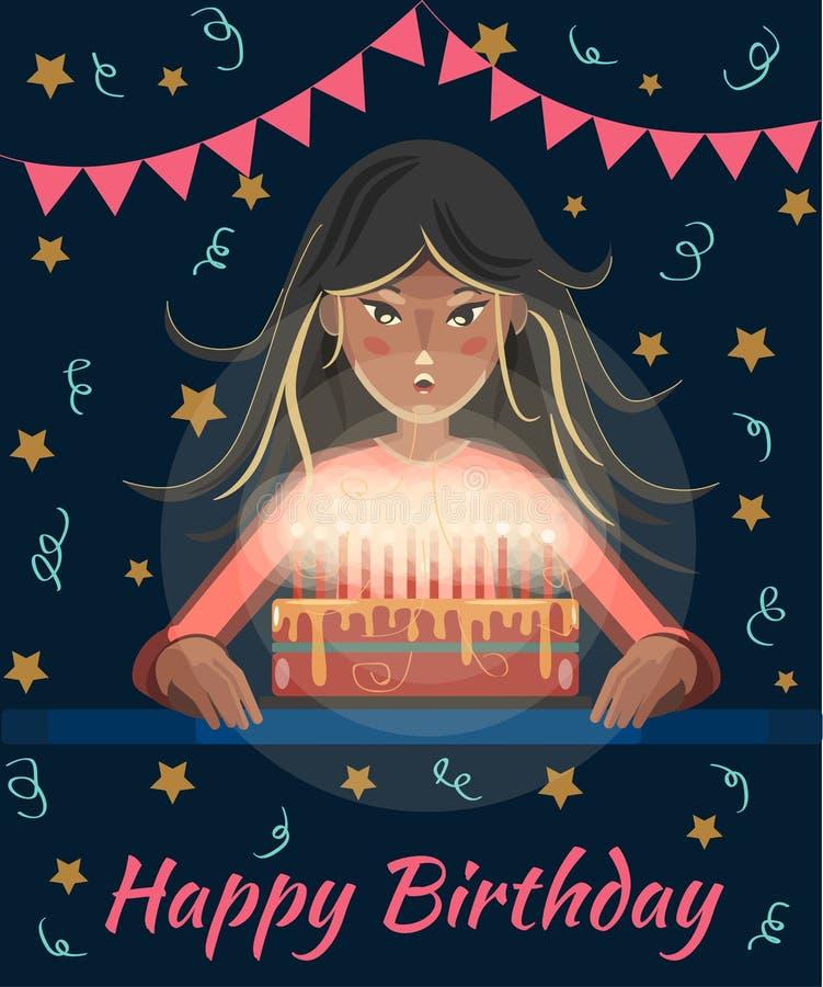 愉快生日贺卡的问候 有长发的动画片女孩吹灭在蛋糕的蜡烛 非洲裔美国人气球美丽的生日蛋糕庆祝巧克力杯子楼层女孩藏品家当事人当前坐的微笑的包围的时间对年轻人 向量例证