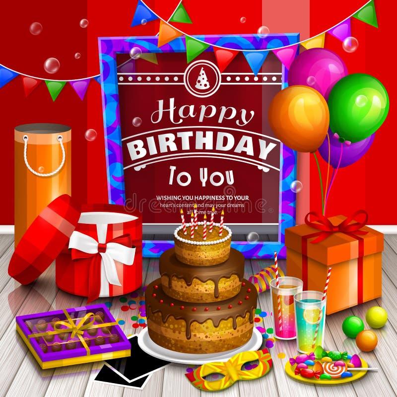 愉快生日贺卡的问候 堆五颜六色的被包裹的礼物盒 许多礼物 党气球,化妆舞会,蛋糕 库存例证