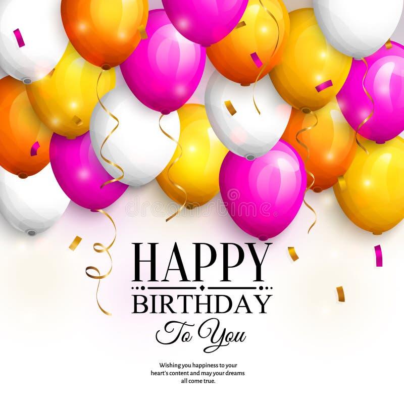 愉快生日贺卡的问候 集会五颜六色的气球、金飘带、五彩纸屑和时髦的字法 向量 库存例证