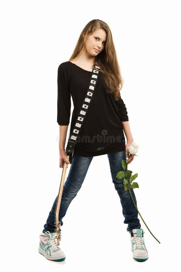 愉快电女孩的吉他 图库摄影