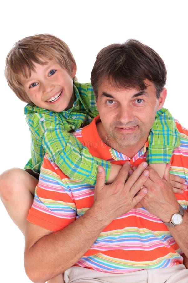 愉快男孩的父亲 免版税图库摄影