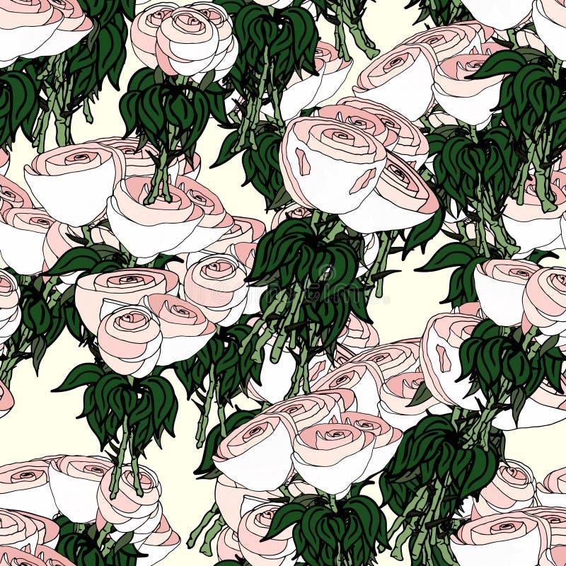 愉快白色婚姻的玫瑰 库存例证