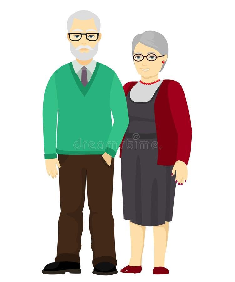 愉快的一起站立祖父和的祖母 家庭的老人 也corel凹道例证向量 库存例证
