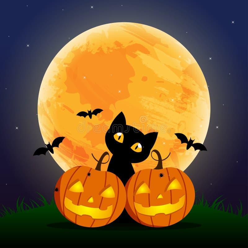 愉快的万圣夜天、棒和蜘蛛,逗人喜爱的南瓜微笑在月亮下的鬼的可怕,但是逗人喜爱和恶意嘘声党 库存例证