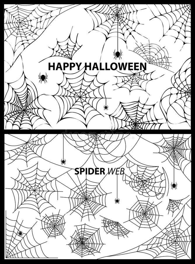 愉快的万圣夜蜘蛛网传染媒介例证 库存例证