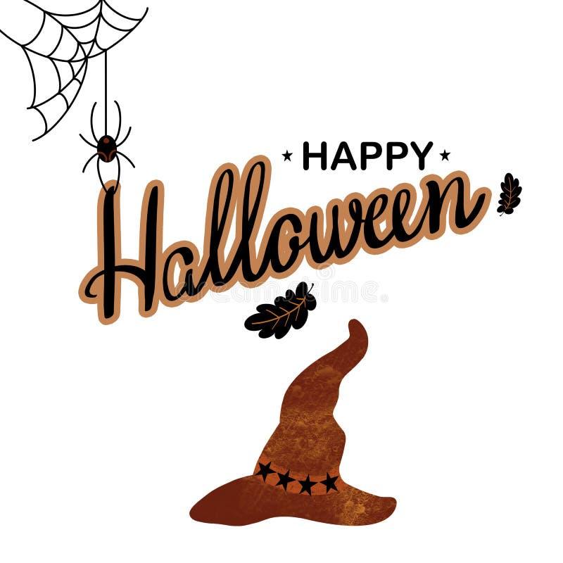 愉快的万圣节手拉的字法和棕色帽子,蜘蛛,网,在白色背景的叶子 库存例证