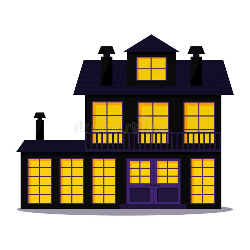 愉快的万圣节舒适平的样式困扰了在白色背景隔绝的阴沉的房子 向量例证