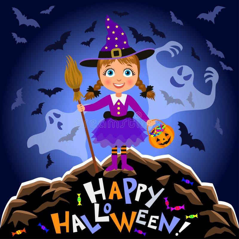 愉快的万圣节 万圣夜服装和可怕鬼魂的女孩 向量例证