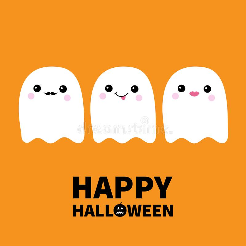 愉快的万圣节 三飞行的鬼魂精神集合显示的舌头,髭,嘴唇 笨蛋 可怕白色鬼魂 逗人喜爱的动画片鬼的轮藻属 向量例证
