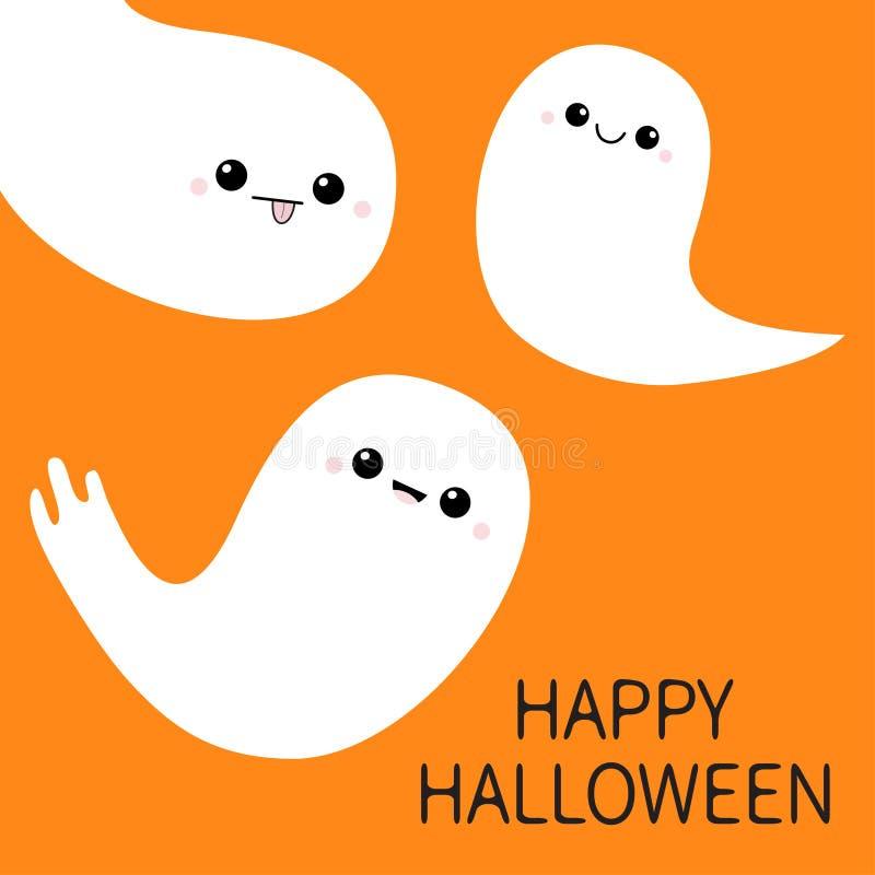 愉快的万圣节 三飞行的鬼魂精神集合 可怕白色鬼魂家庭 逗人喜爱的动画片鬼的字符 微笑的面孔,面颊 或者 向量例证
