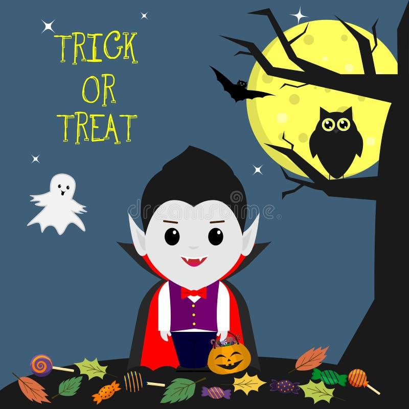 愉快的万圣节 仿照动画片样式的一个吸血鬼在树旁边站立 拿着与甜点的一个南瓜 猫头鹰,鬼魂,满月在 向量例证