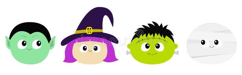 愉快的万圣节 吸血鬼计数德雷库拉,妈咪, whitch帽子,蛇神圆的面孔头象集合 逗人喜爱的动画片滑稽的鬼的婴孩charact 库存例证