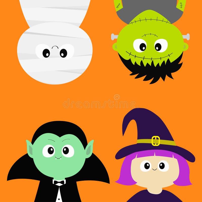 愉快的万圣节 吸血鬼计数德雷库拉,妈咪, whitch帽子,蛇神圆的面孔头身体象集合 停止颠倒 逗人喜爱的动画片 库存例证