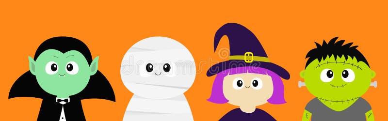 愉快的万圣节 吸血鬼计数德雷库拉,妈咪, whitch帽子,蛇神圆的面孔头身体象集合 逗人喜爱的动画片滑稽的鬼的婴孩ch 向量例证