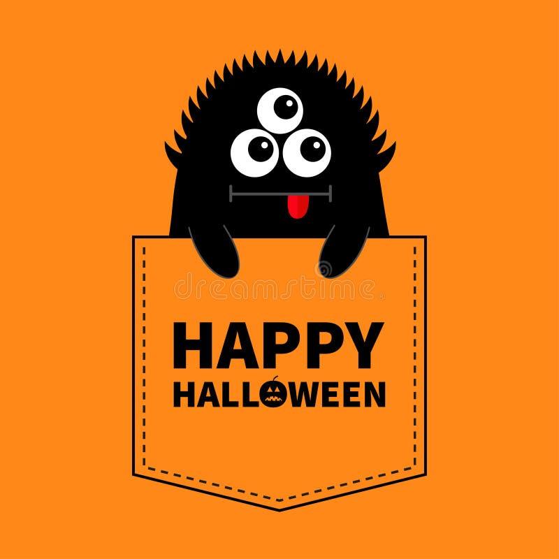 愉快的万圣节 在口袋的黑妖怪剪影 现有量暂挂 逗人喜爱的动画片可怕滑稽的字符 婴孩汇集 T石牌 库存例证