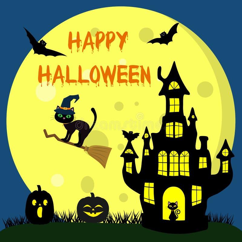 愉快的万圣节 在巫婆帽子的一只万圣夜猫在帚柄飞行反对满月在晚上 巫婆城堡,两万圣夜 向量例证