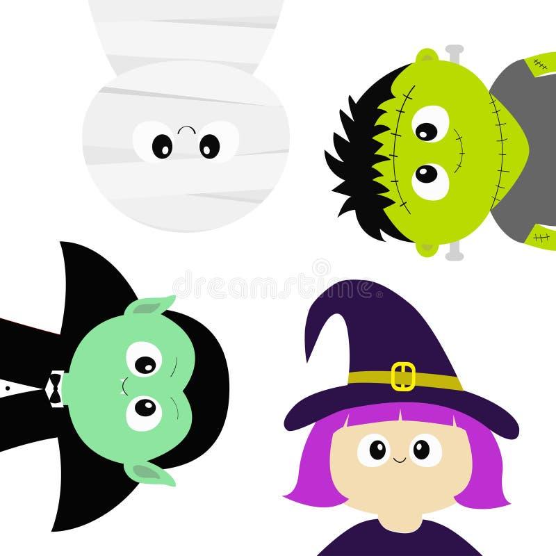 愉快的万圣节 妈咪,吸血鬼计数德雷库拉, whitch帽子,蛇神圆的面孔头身体象集合 逗人喜爱的动画片滑稽的鬼的婴孩ch 向量例证